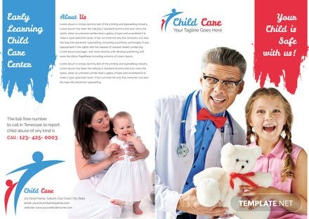 Free Child Care Bi-fold brochure Template | Free Templates