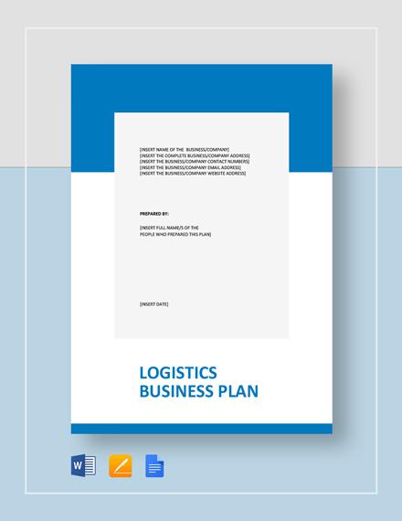 Logistics Business Plan Template - Word | Google Docs