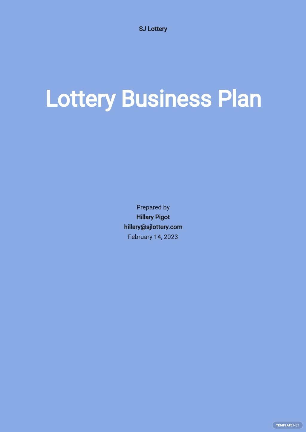 Lottery Business Plan Template