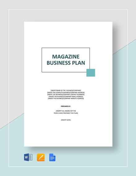 Magazine Business Plan Template