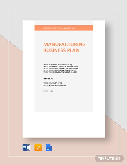 Manufacturing Business Plan Template