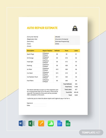 Auto Repair Estimate Template