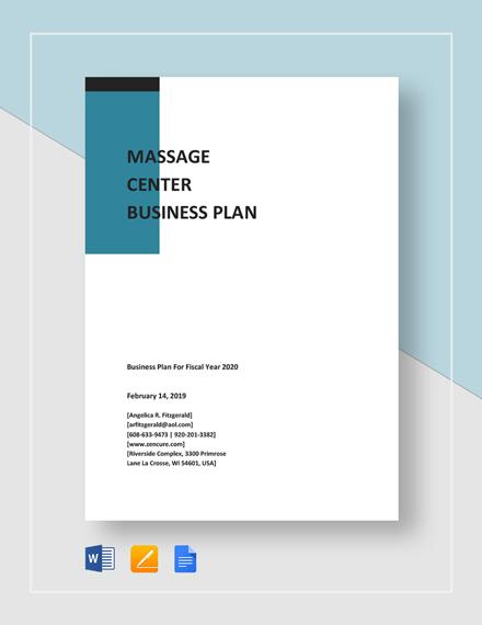 Massage Center Business Plan Template