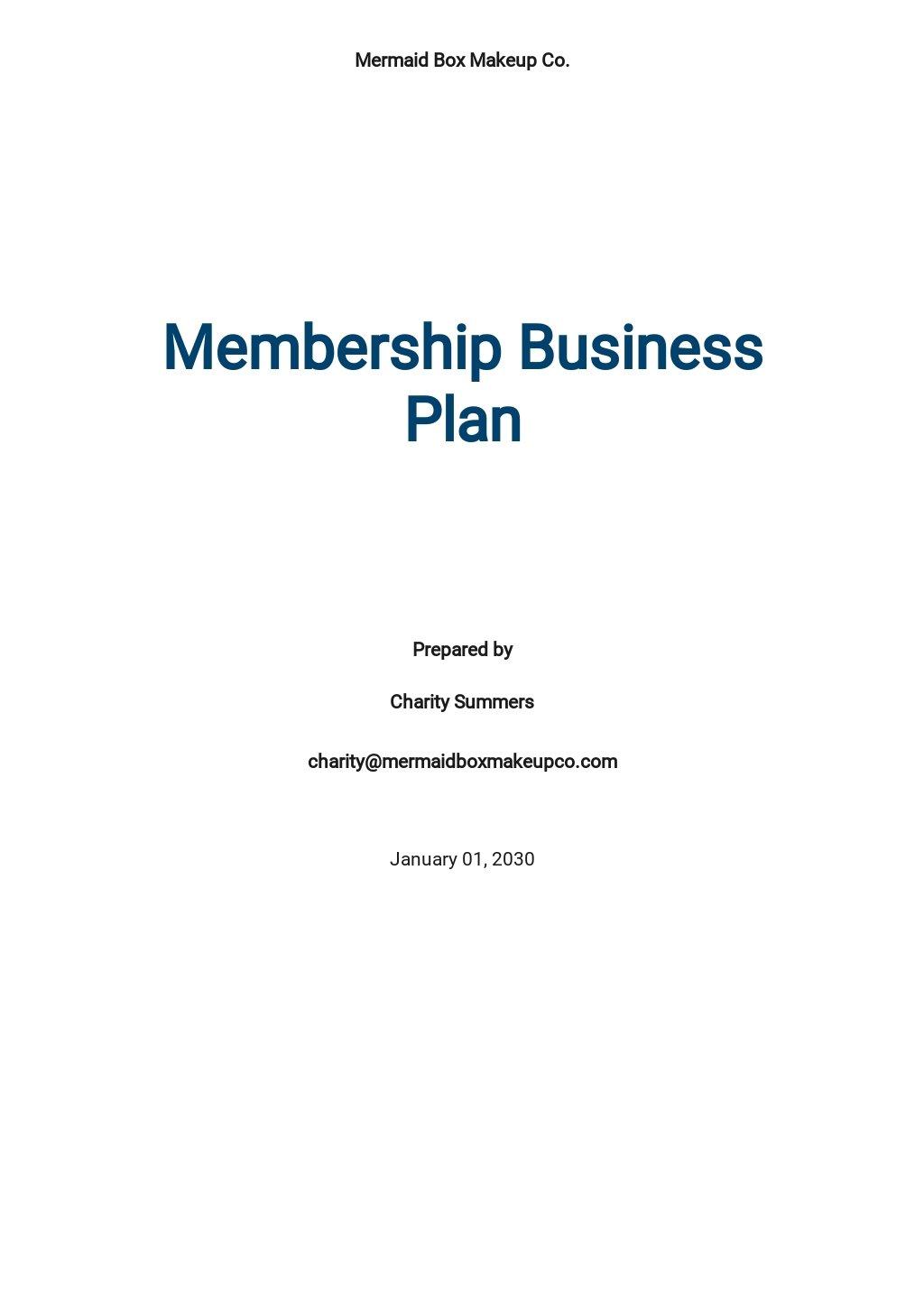 Membership Business Plan Template