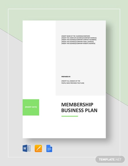 Membership Business Plan Template