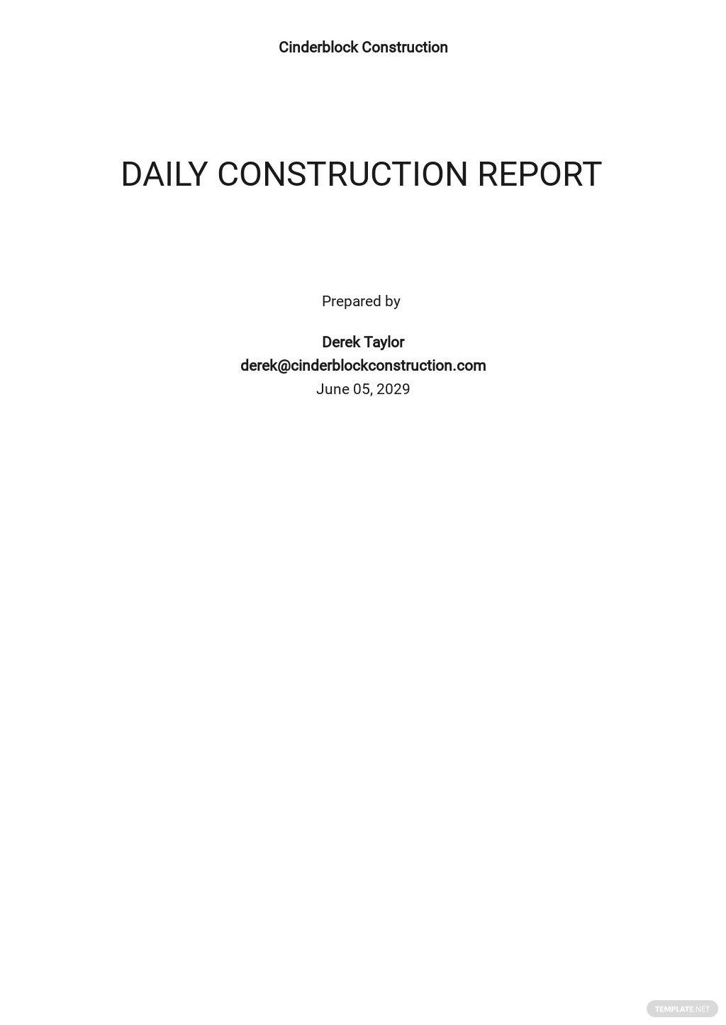 Daily Construction Report Sample Template