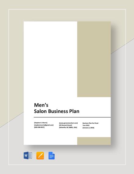 Men's Salon Business Plan Template