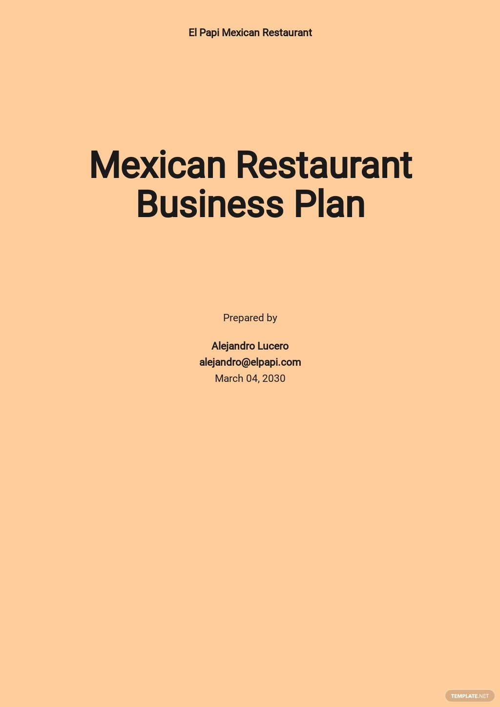 Mexican Restaurant Business Plan Template