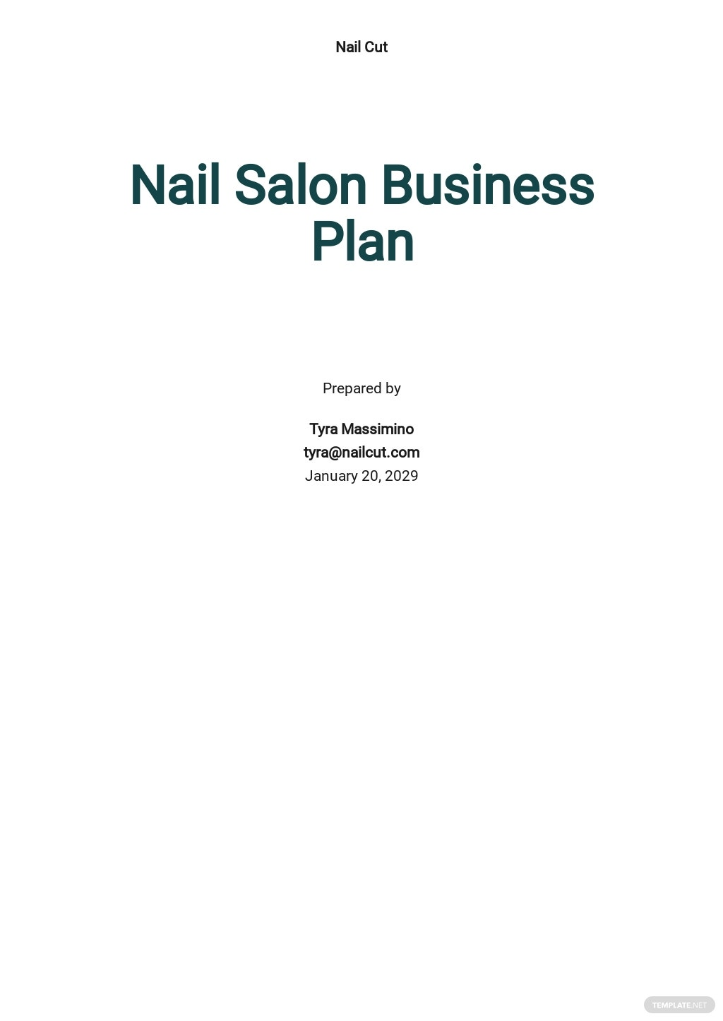 Nail Salon Business Plan Template