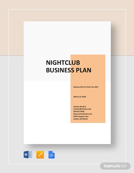 Night Club Business Plan Template