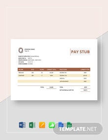 Sample Pay Stub Template