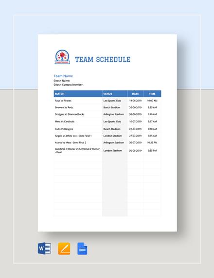 Team Schedule Template