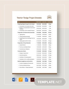 Interior Design Project Schedule Template