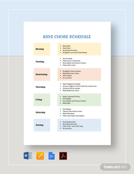 Kids Chore Schedule Template [Free PDF] - Google Docs, Word, Apple Pages