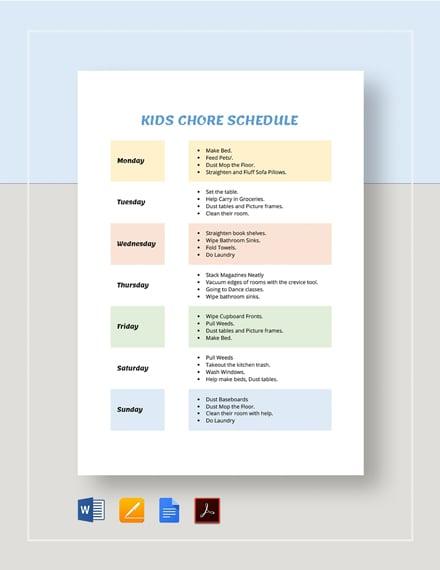 Kids Chore Schedule