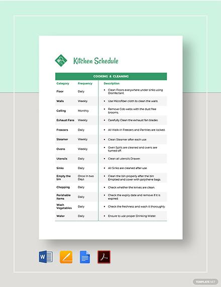 Kitchen Schedule template