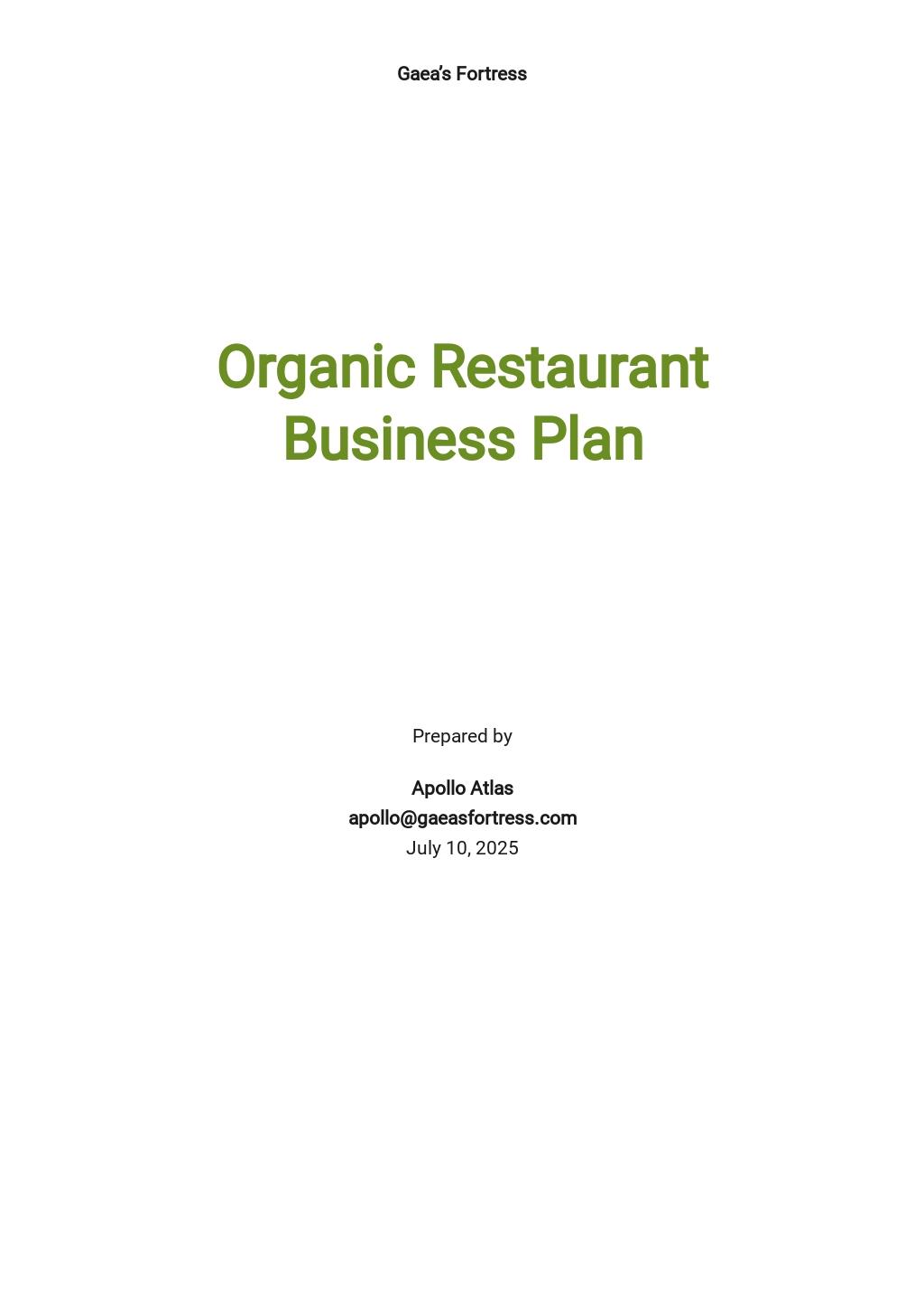 Organic Restaurant Business Plan Template.jpe