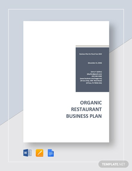 Organic Restaurant Business Plan Template