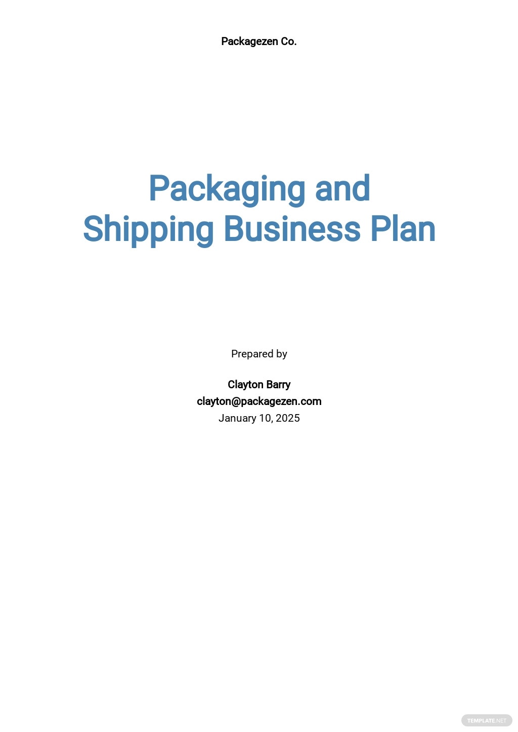Packaging and Shipping Business Plan Template