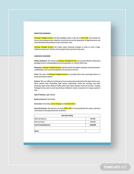 Paralegal Business Plan Download