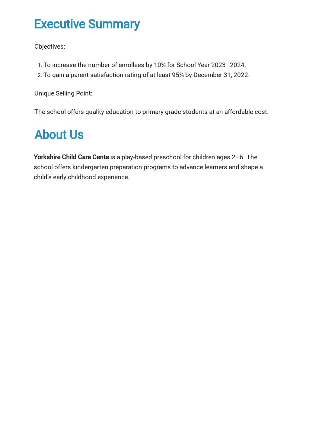 Nursery Business Plan Template [Free PDF] - Google Docs, Word