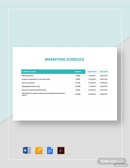 Marketing Schedule Template