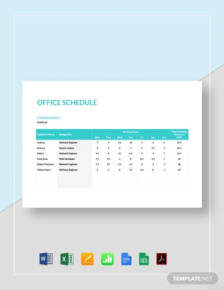 Office Schedule Template