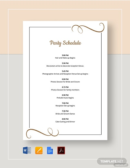 Party Schedule Template