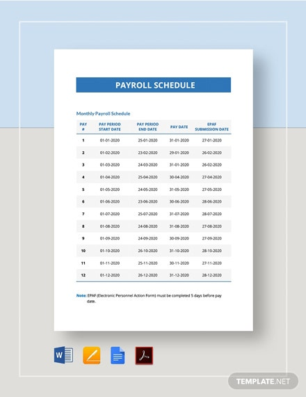 Payroll Schedule Template