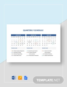 Quarterly Schedule Template