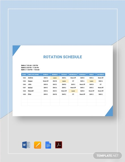 Rotation/Rotating Schedule Template