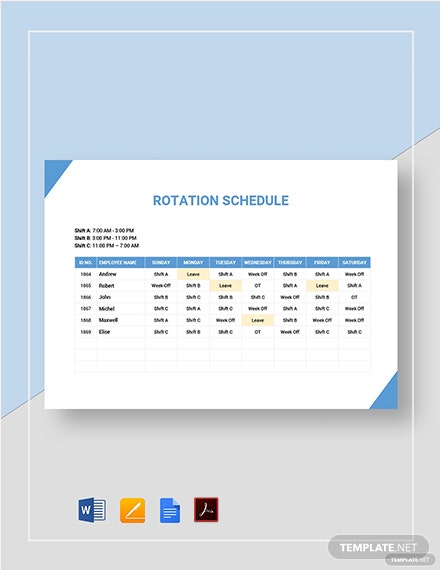rotationrotating schedule