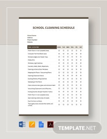 School Cleaning Schedule Template