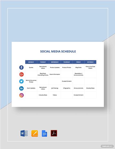 social media schedule 2