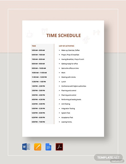 Time Schedule Template