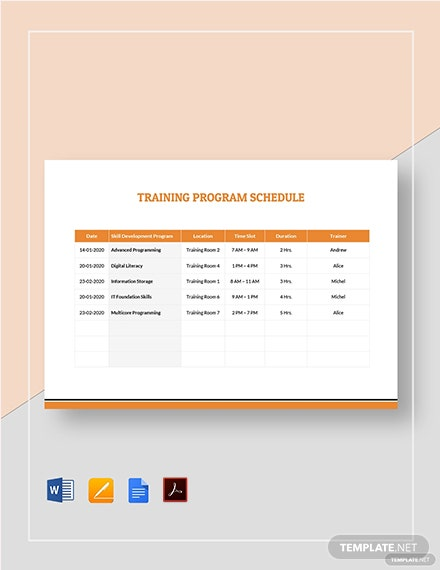 Training Program Schedule Template