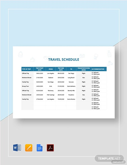 Travel Schedule Template