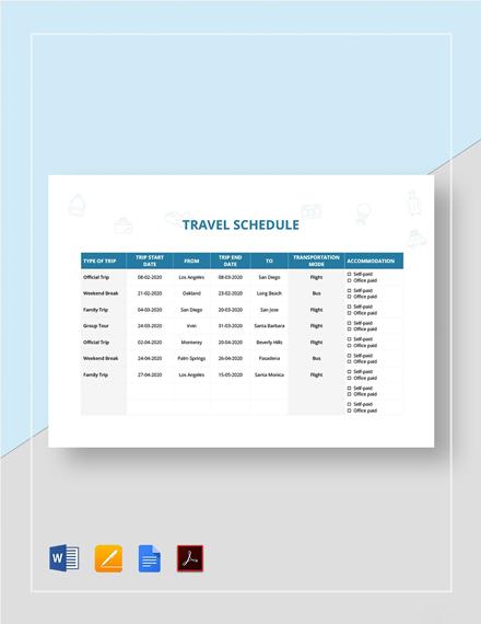 Travel Schedule