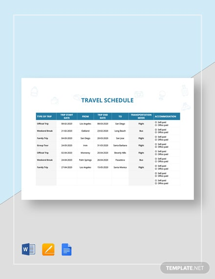 Travel Schedule Template