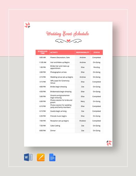 Wedding Event Schedule Template