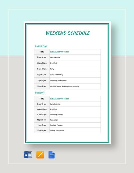 Weekend Schedule Template