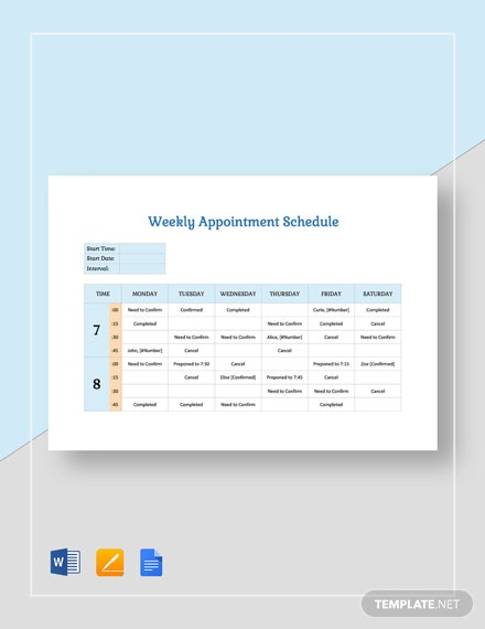 Weekly Appointment Schedule Template
