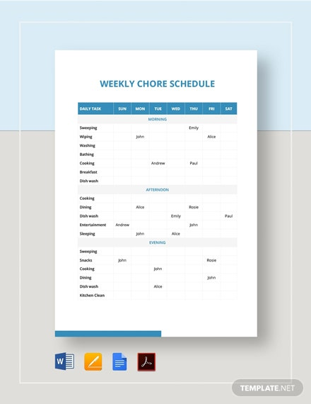Weekly Chore Schedule Template