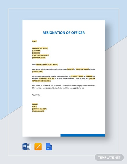 Resignation of Officer Template