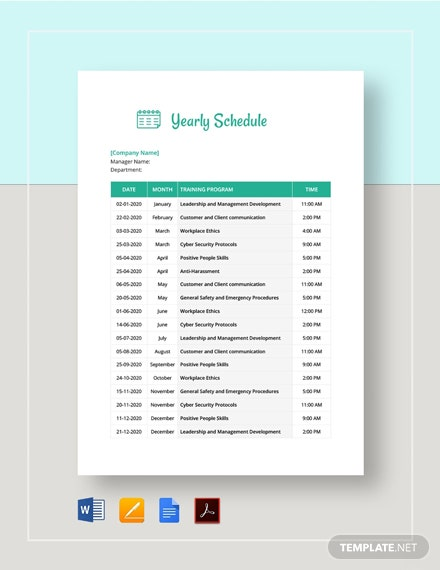 Yearly Schedule Template