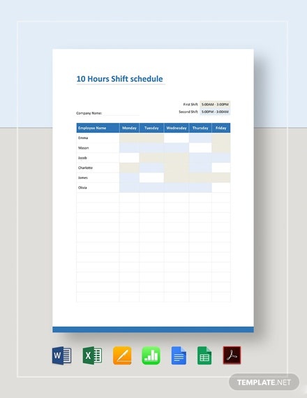 10 Hour Shift Schedule Template