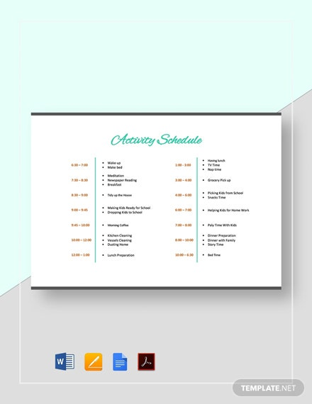 Activity Schedule Template