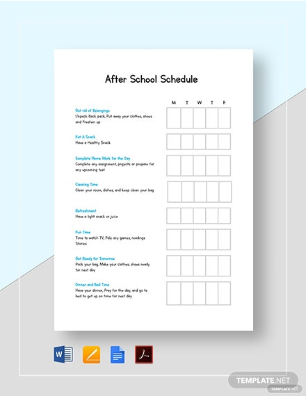 After School Schedule Template