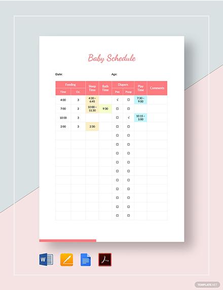Baby Schedule Template