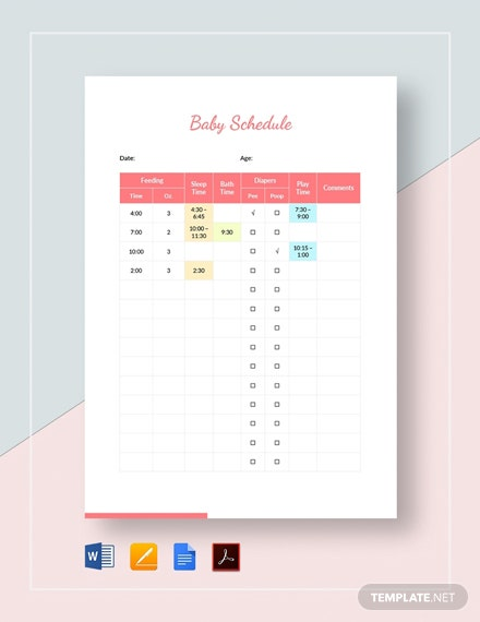 Baby Schedule Template